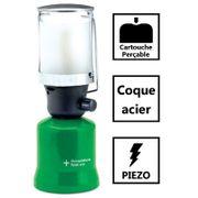 Lampe a gaz LG 400 M. Lampe camping piezo. Coque Acier. Lampe de camping pour bouteille de gaz 190g perçable