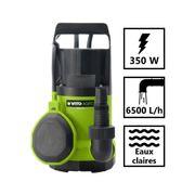 Pompe d'évacuation eau claire 350W - profondeur max 5m - hauteur max 7m - 6500L/h - câble 10m