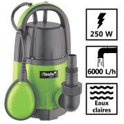 Pompe d'évacuation eau claire 250W - profondeur max 5m - hauteur max 6m - 6000L/h - câble 10m