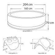 Pack spa gonflable rond simili-cuir SUPER CAMARO 6 places, noir + 2 appuie-tête et 1 porte-gobelets