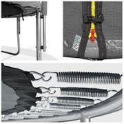 Pack Premium Trampoline réversible 180cm gris et rose CAIRNS avec filet de protection, échelle, bâche et kit d'ancrage