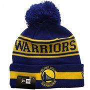 Bonnet NBA Golden State Warriors New Era Team Jake avec pompon bleu