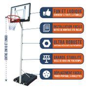 Panier de Basket BUMBER CHARLOTTE Hauteur réglable de 2.1m a 2.6m