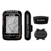 Bryton Rider 450T avec capteur de rythme et capteur cardiaque noir orange
