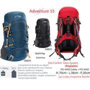 ADVENTURE 55 L - sac à dos 35 à 55 L - sac à dos 55 L. petite randonnée