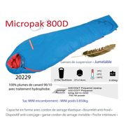 MICROPAK 800 D - Sac de couchage moins 18°C - Sac de couchage Plume - duvet grand froid