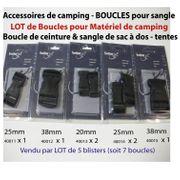 Boucles de sac à dos - Lot de boucles 20-25-38mm pour tentes ou matelas - Accessoires de camping