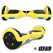Cool&Fun Hoverboard 6.5 Pouces avec Bluetooth Jaune + Hoverkart Hip, Gyropode Overboard Smart Scooter certifié, Pneu à LED de couleur, Kit kart