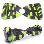 Housse en silicone protection pour Hoverboard Gyropode 6,5 pouces, intégrale zippé, mixage noir vert