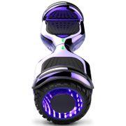 COOL&FUN Hoverboard Gyropode Bluetooth 6.5 pouces, Roues lumineuses à LED de couleur et Bande de LED, Violet Chromé