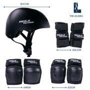 Équipement de protection pour hoverboard, skate, vélo BMX, skateboard; Ensemble protecteur avec réglage optimal et ajustement ferme pour les enfants et les adultes, sac de transport  Size L-Noir