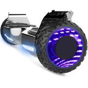 Cool&Fun Hoverboard Hummer 6.5 Pouces, Gyropode SUV Tout-Terrain, avec Bluetooth et Roues lumineuses à LED, Argent Chromé