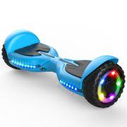 Hoverboard bluetooth tout terrain 6.5 pouces, scooter gyropode Roues lumineuses à LED de nouvelle génération Q3, bleu