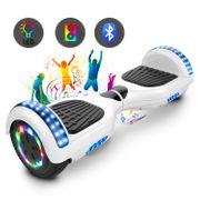 Cool&Fun Hoverboard 6.5 Pouces Certifié, avec Bluetooth et Pneu à LED de couleur, Gyropode Scooter électrique Overboard, Blanc