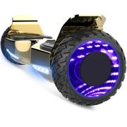 Cool&Fun Hoverboard Hummer 6.5 Pouces, Gyropode SUV Tout-Terrain, avec Bluetooth et Roues lumineuses à LED, Or/Doré Chromé