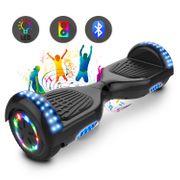 Cool&Fun Hoverboard 6.5 Pouces Certifié, avec Bluetooth et Pneu à LED de couleur, Gyropode Scooter Overboard, Noir Classique