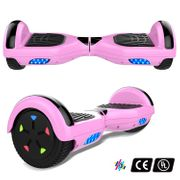 Cool&Fun Hoverboard 6.5 Pouces avec Bluetooth Rose + Hoverkart Hip, Gyropode Overboard Smart Scooter certifié, Pneu à LED de couleur, Kit kart