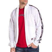 Veste zippée 212801 sport blanche de marque champion avec bandes latérales manches longues