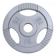 Gorilla Sports - Poids olympiques en fonte avec poignées - 51 mm - gris