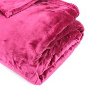 Couverture polaire 180x240 cm Microfibre 100% Polyester 320 g/m2 VELVET Rouge Framboise