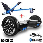 Mega Motion Hoverboard bluetooth 6.5 pouces, M1 Noir + Hoverkart bleu, Gyropode Overboard Smart Scooter certifié, Kit kart