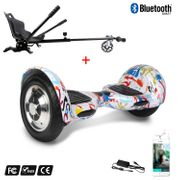 Cool&Fun Hoverboard Gyropode 10 Pouces Bluetooth Graffiti  + Hoverkart Noir, Overboard Smart Scooter certifié, Kit kart