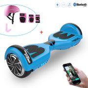 Mega Motion Hoverboard Gyropode 6.5 pouces bluetooth Bleu+Équipement de protection sportive pour hoverboard, skate, vélo, skateboard, Ensemble protecteur, Size L-Rose