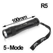 Lampe de poche de LED-Lampe de poche Tank007 TK-568 CREE XP-G R5 5 modes 220lm (Noir)