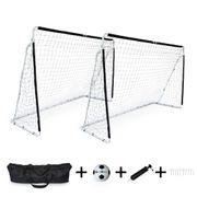 2 cages de football Eden taille L en acier 300 x 200 cm avec ballon, pompe, sacs de rangement, kits d'ancrage, but de foot