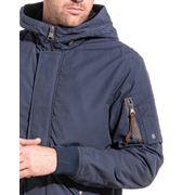 Veste homme hiver bleu zippée capuche fourrure