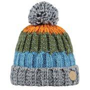 BARTS-Bonnet à pompon en maille gris et orange garçon du 4 au 16 ans Barts