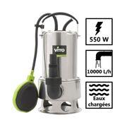 Pompe d'évacuation 550W VITOGARDEN Eaux chargées Acier Inoxydable Vide cave Piscine Eaux de pluie Câble 10m