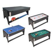 Table de jeux 4 en 1 Air Hockey, Ping pong, Billard et plateau dînatoire, Accessoires inclus - 183 x 91 x 81 cm