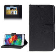 Housse Galaxy S5 avec rabat en similicuir couleur - Noir