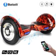 COOL&FUN Hoverboard 10 pouces avec Bluetooth, Gyropode  Overboard de couleur Rouge Flamme
