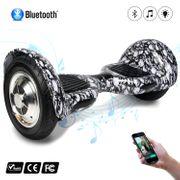 COOL&FUN Hoverboard 10 pouces avec Bluetooth, Gyropode  Overboard Smart Scooter, Tête De Mort Noir