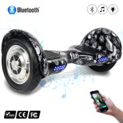 COOL&FUN Hoverboard 10 pouces avec Bluetooth, Gyropode  Overboard Smart Scooter, Noir carbone Crane design