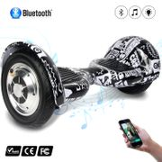 COOL&FUN Hoverboard 10 pouces avec Bluetooth, Gyropode  Overboard Smart Scooter, Noir carbone presse design