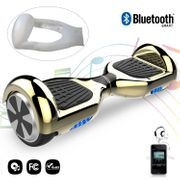 COOL&FUN hoverboard gyropode  6.5 ouces Doré + Housse en silicone protection pour hoverboard  Gyropode 6,5 pouces, blanc
