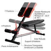 Banc de musculation 150L x 150l x 76H cm hauteur coussin abdominal réglable 7 niveaux dossier rembourré acier noir rouge