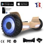 Hoverboard bluetooth tout terrain 8.5 pouces, Gyropode Hummer SUV 4x4 Challenger, Roues Lumineuses à LED, Bluetooth + App de contrôle + Sac de transport, Or