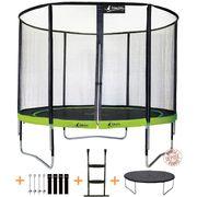 Kangui - Trampoline de jardin rond 305 cm + filet de sécurité + échelle + bâche de protection + kit d'ancrage   PUNCHI ALOE 300
