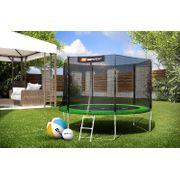 HS Hop-Sport Trampoline de jardin ronde 305 cm/3 pieds trampoline avec filet extérieur; échelle; bâche de protection Verte