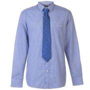 Chemise En Coton Homme Pierre Cardin Bleu A Carreaux Avec Cravate