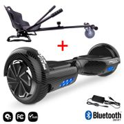 Mega Motion Hoverboard bluetooth 6.5 pouces, M1 Noir carbon + Hoverkart noir, Gyropode Overboard Smart Scooter certifié, Kit kart