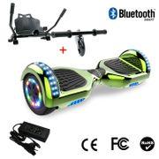 Cool&Fun Hoverboard 6.5 Pouces avec Bluetooth Vert + Hoverkart Noir, Gyropode Overboard Smart Scooter certifié, Pneu à LED de couleur, Kit kart