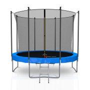 Classique 10Ft / ø305cm  Pack trampoline de jardin avec Filet intérieur, mousse de protection, échelle et tapis de saut - Bleu