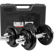 Gorilla Sports - Paire d'Haltères en fonte 20kg avec valise