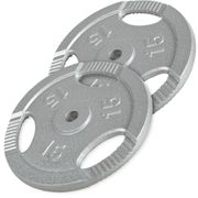 Gorilla Sports - Lot des poids en fonte grip de 30kg (2x15kg) en diamètre 31mm