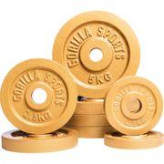 Gorilla Sports - Lot de 8 poids Couleur Or avec diamètre de 30mm 4 x 5kg, 2 x 2,5kg et 2 x 1,25kg